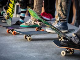 A skateboarder in action at Venice Beach Skate Park in Los Angeles, California, USA