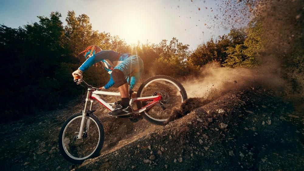 woman riding mountain bike